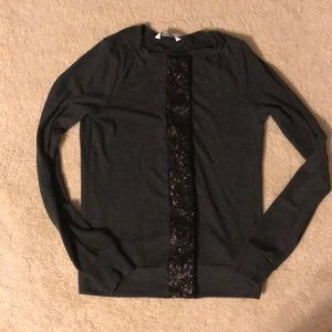 Black sequin button cardigan